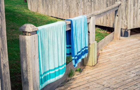 hanging beach towels