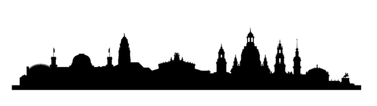Die Skyline von Dresden als Silhouette. Vektorskyline mit Zwinger, Semperoper und Frauenkirche.