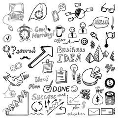 Big set od business doodles, hand drawn icons.