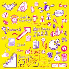 Big set od business doodles, pink and blue drawn icons on yellow.