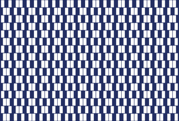 White rectangles in a row. Pattern and seamless tile. Textile design and background. Geometrical cafe wall optical illusion. The rectangles appear to be sloped. Illustration on blue background. Vector