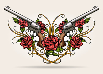 Two Guns and Rose flowers Drawn in  Tattoo Style