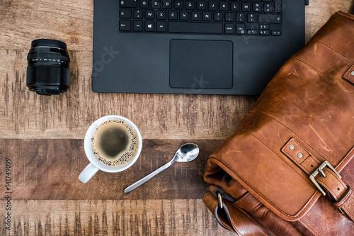caf pause tasse ordinateur flat clavier optique objectif photo travailler travail portable. Black Bedroom Furniture Sets. Home Design Ideas