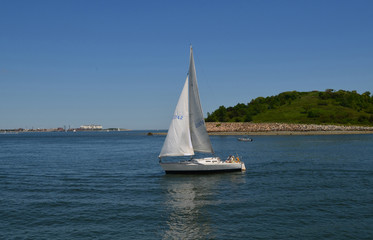 Sailboat off the Boston Harbor Islands in Massachusetts