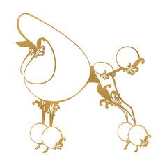 プードル 装飾的な金のシルエット