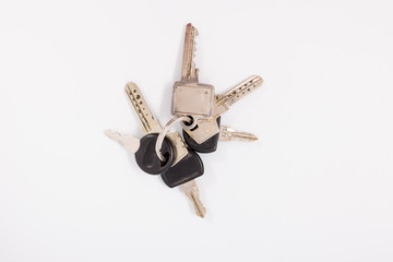 A bunch of keys on a white background. Isolate