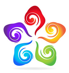Swirly colorful flower logo vector