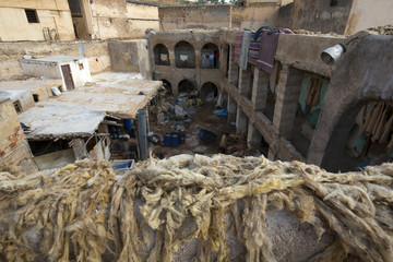 North Africa,Morocco,Fes district,Fez Tannery,Chouara Tannery. Leather processing