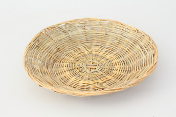 Wicker basket with white background