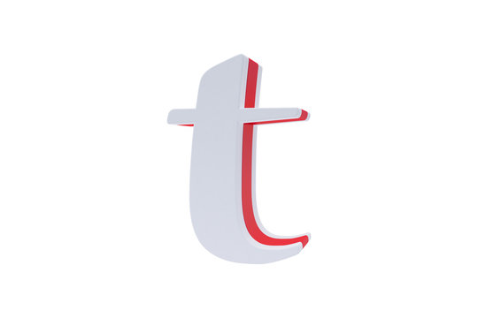 Alphabet letters, isolated on white background. Alphabet letter T made with Candy on white background.