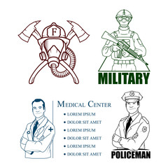 Emergency Rescue Services - Policeman Or Police Officer, firefighter in safe helmet, Doctor with stethoscope, soldier with Automatic weapon.