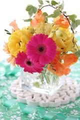 Wall Mural - Beautiful bouquet of colorful spring flowers, gerber,ranunculus,tulip,freesia