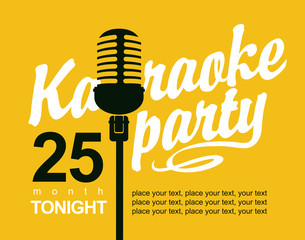 Vector Banner with microphone and inscription karaoke party
