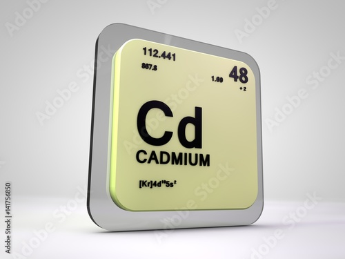 """Cadmium - Cd - chemical element periodic table 3d render ..."