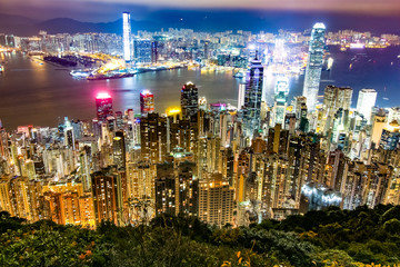 View point of Hong Kong city at the peak, night time