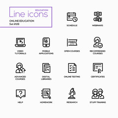 Online education - modern vector single line icons set