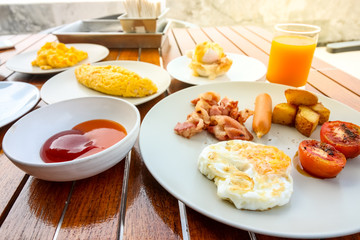 Delicious breakfast set at the luxury hotel