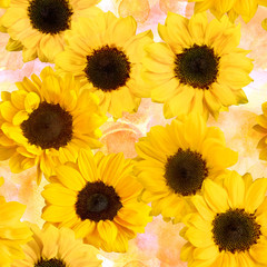 Seamless pattern with yellow sunflowers on pastel watercolor tex