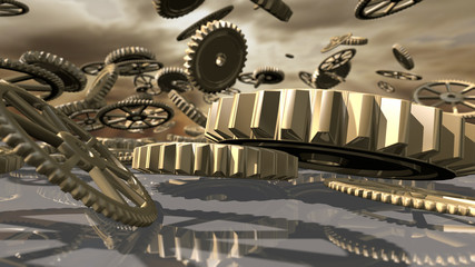 Steampunk vintage clockwork wheels fallen down. 3D rendering