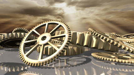 Steampunk vintage clockwork wheels. 3D rendering