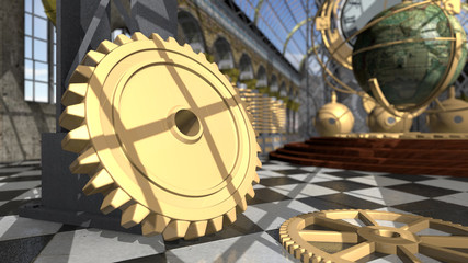 Mechanical devices in victorian interior. 3D rendering
