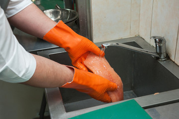 cleaning salmon fish