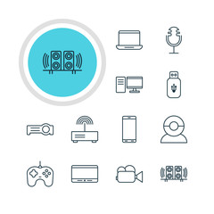 Vector Illustration Of 12 Technology Icons. Editable Pack Of Modem, Monitor, Sound Recording And Other Elements.