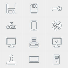 Vector Illustration Of 12 Laptop Icons. Editable Pack Of Storage, Smartphone, Cooler And Other Elements.