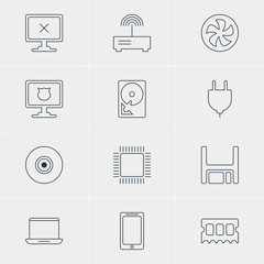 Vector Illustration Of 12 Notebook Icons. Editable Pack Of Objective, Microprocessor, Socket And Other Elements.