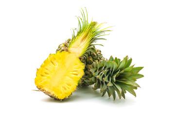 Isolated of pineapple fruit sliced on white background