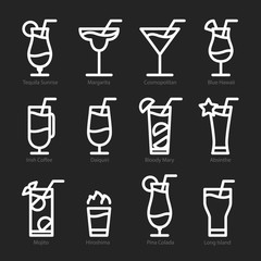 Flat icon design. Cocktails icons isolated.