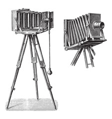 Old photo camera with tripod / vintage illustration