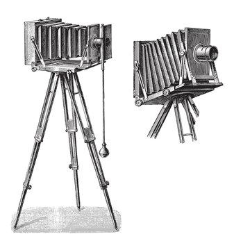 Old photo camera with tripod / vintage illustration