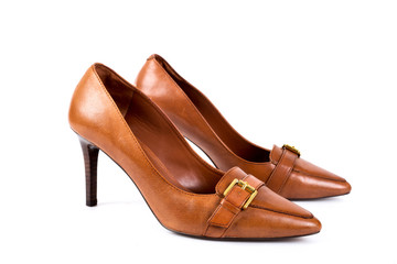 Brown women's high-heeled shoes on a white background