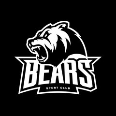 Furious bear sport vector logo concept isolated on dark background. Modern predator professional team badge design.
