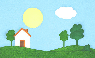 Illustration of a house in the countryside with clear weather