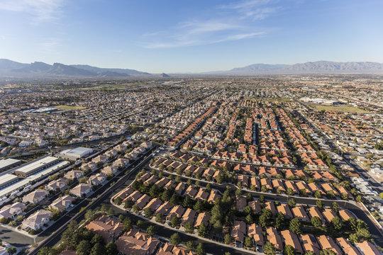 Aerial view of suburban neighborhood sprawl in Las Vegas, Nevada.