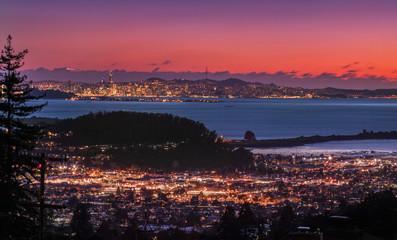 Panorama Night View of San Francisco Bay, East Bay, Oakland, Berkeley, Richmond, El Cerrito, Kensington