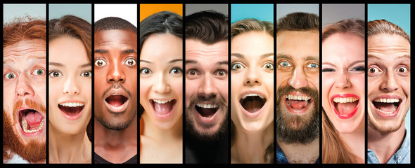 The collage of young women and men smiling face expressions