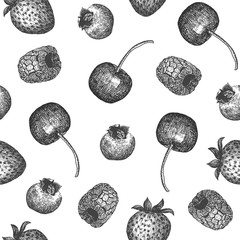 Seamless pattern design or background with berries. Can be used for natural or organic fruit products and health care goods.
