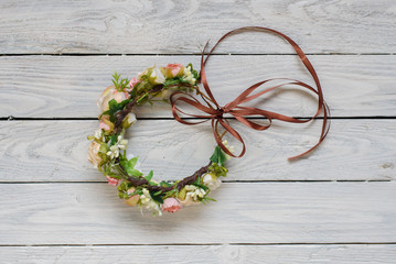 Flower wreath hairpin with flowers isolated