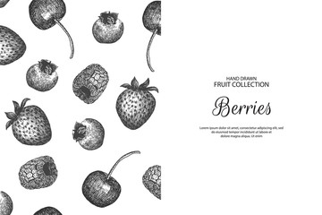 Decorative background with berries. Can be label and banner for natural or organic fruit product and health care goods.
