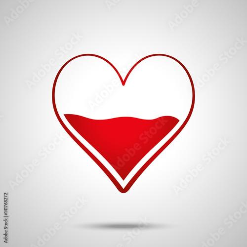 Heart Half Of Blood Vector Icon Medicine Symbol Valentines Day