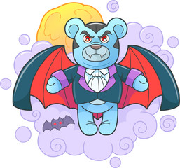 Cartoon teddy bear vampire flies in the sky