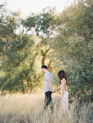 Couple walking and holding hands in meadow