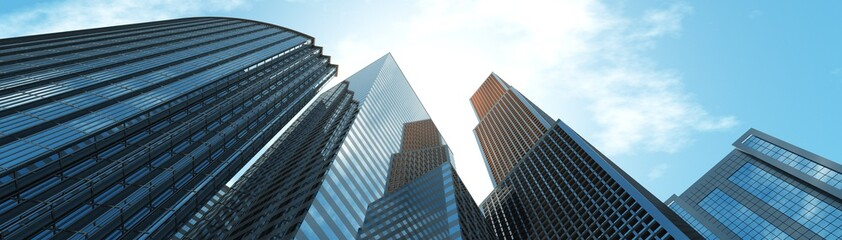 Wall Mural - Nice view of the skyscrapers against the sky with clouds, 3d rendering