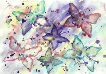 watercolor abstract background with butterflies