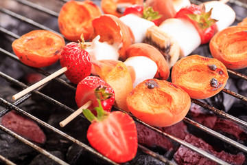 fruits on grill