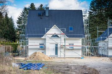 Eigenheim im Bau verputzt
