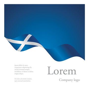 New brochure abstract design modular pattern of wavy flag ribbon of Scotland